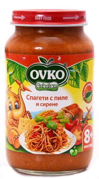 Овко Бебешко пюре /Меню спагети с пиле и сирене/ 8м+ 220 гр. 5619